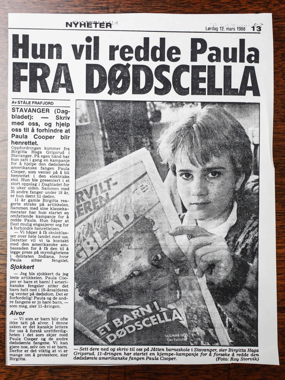 A photo copy of a scandinavian newspaper headline shows