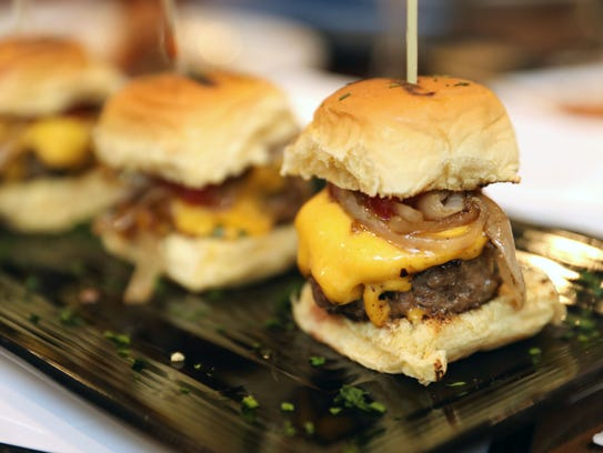 The Nanuet Sliders, with thinly sliced sautéed onions,