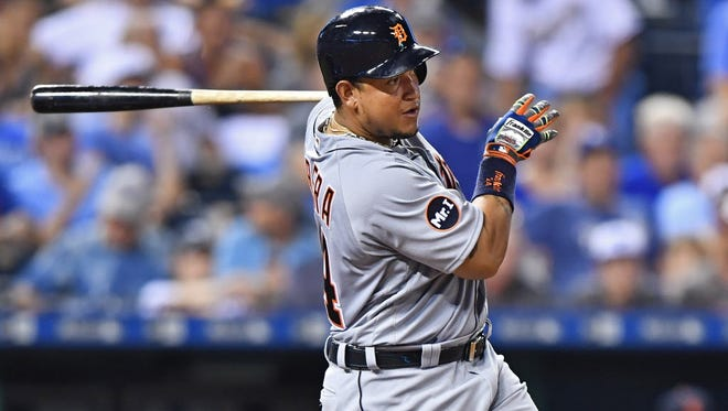 Detroit Tigers first basemen Miguel Cabrera (24) singles in a run against the Kansas City Royals during the sixth inning at Kauffman Stadium.