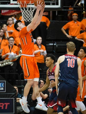 Drew Eubanks concludes his Oregon State career 27th in school history in scoring, 11th in rebounding and third in blocked shots.
