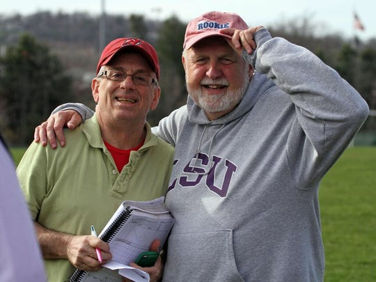 Former Courier News sports writer Paul Franklin (right) and Harry Frezza