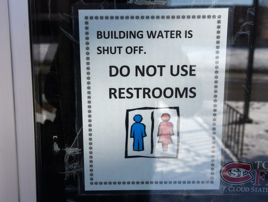 A sign announces no water at St. Cloud State's Eastman