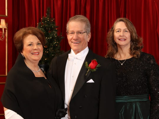 Left to right: Mrs. Larry Joe. Urban, (president of the Patrons of the Order of de Pineda),  Mr. James Chester Freeman (2017 Presentation master of ceremonies), and Mrs. David Michael Underbrink,(president of the Order of de Pineda)