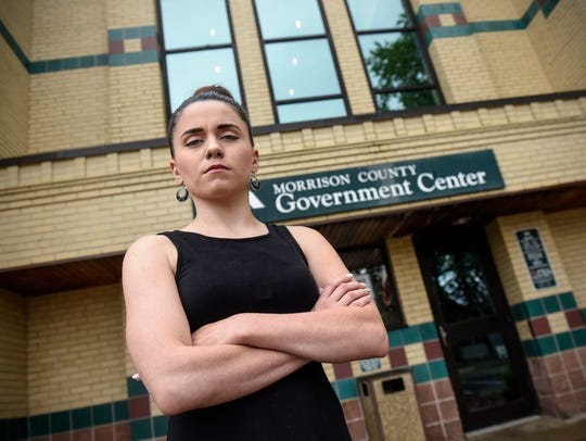 Amanda Weber stands outside the Morrision County Government