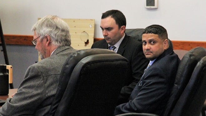 In this May 2018 file photo, Terrick L. Thompkins, seated far left, looks back at the gallery during a break in his 2018 first-degree murder trial in 12th Judicial District Court. Thompkins was sentence on June 28, 2018 to life in prison for killing his ex-wife and her boyfriend.