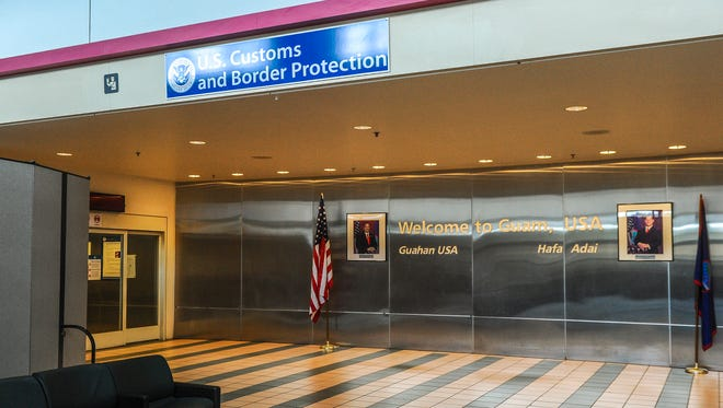 The entrance of the U.S. Customs and Border Protection section where incoming travelers enter to be processed upon their arrival to the A.B. Won Pat International Airport as seen on April 20, 2016.