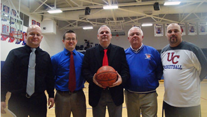 Jesse Moses, left, will replace Mark Detweiler as head coach at Union County. From left, Moses, Ryan Brattain, Mark Detweiler, Roger Bowling and Scott Gray.