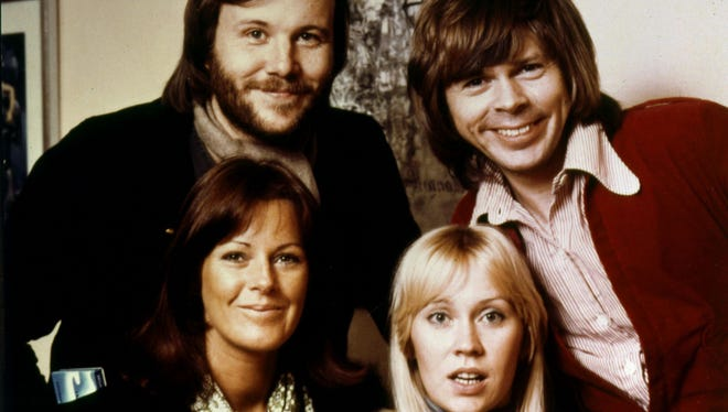 ABBA, Bjorn Ulvaeus, back left, Benny Andersson, back right, Agnetha Faltskog, front left, and Anni-Frid Lyngstad.