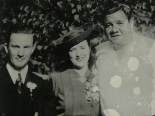 Babe Ruth with newlyweds Agnes and Frederick H. Viohl at their September 26, 1941, wedding on Greenwood Lake in Orange County.