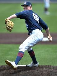 Vanderbilt pitcher Drake Fellows (66) hurls in a pitch