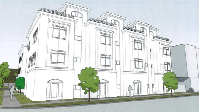 Ansay Development has proposed this three-story, eight-unit apartment building at the site of the former Victor's restaurant on the northeast corner of Washington Street and Harborview Lane.