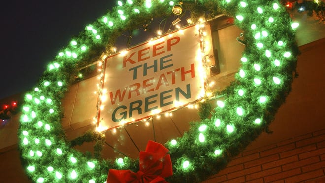 "Wood County firefighters are hoping residents will help ""Keep the Wreath Green"" this holiday season by preventing structure fires. For every fire, firefighters replace one green bulb on department wreaths with a red bulb."