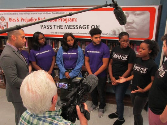 """Pass the Message On"" is a bias- and prejudice-reduction program at Linden High School in which juniors and seniors find creative ways to teach freshman and middle-schoolers about bias and ways to stop it."