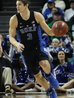 Duke Blue Devils guard Grayson Allen (3) drives during the first half against the Notre Dame Fighting Irish in the ACC Tournament final at Barclays Center.