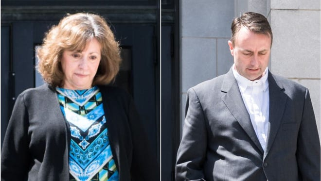 Former Buncombe County manager Wanda Greene, left, and son, Michael Greene, separately leaving the federal courthouse in Asheville after pleading not guilty to wire fraud, conspiracy and embezzlement charges.