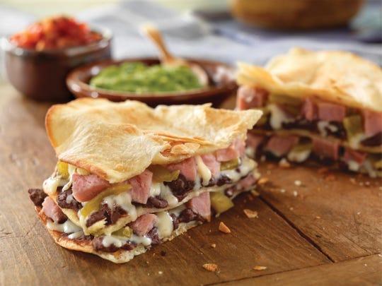 Layered ham and cheese quesadillas