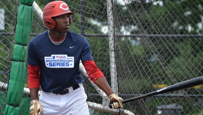 Sycamore's R.J. Barnes stands at the plate at the P&G Cincinnati MLB Urban Youth Academy.