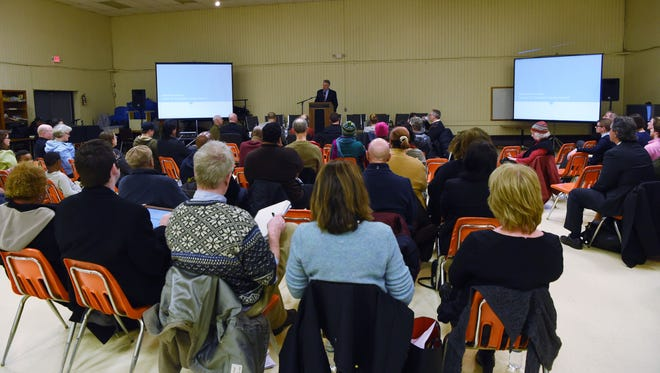 A view of the public forum at the Catharine Street Community Center in the City of Poughkeepsie where the plans for the new jail are being discussed.