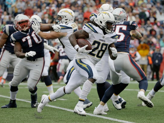 Los Angeles Chargers running back Melvin Gordon (28)