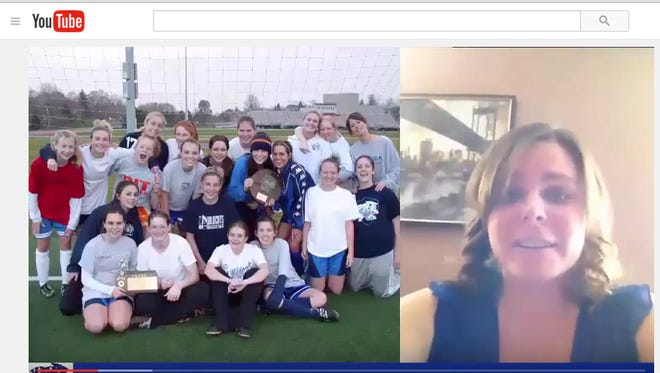 "A screen shot from a 20-minute ""send-off"" video wishing the Wheatland girls soccer team luck in the state tournament."