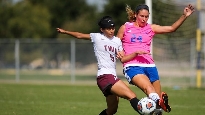 Junior midfielder Analise Watson (right) has started nine of 10 matches for the Angelo State University soccer team in 2017.