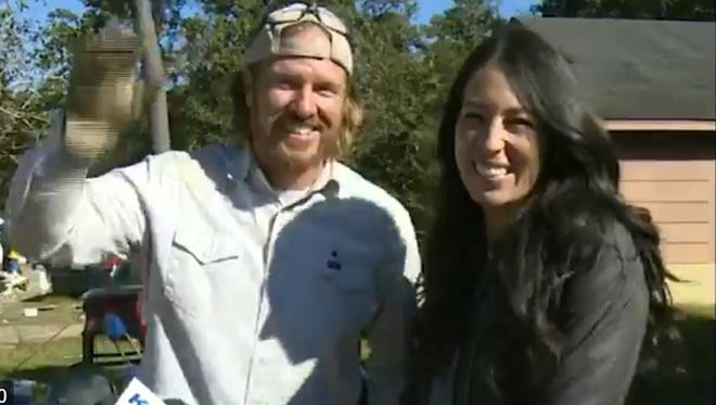 "Chip and Joanna Gaines, of HGTV's ""Fixer Upper,"" teamed up with Rebuilding Together on Sunday, Oct. 29, 2017, to remodel a woman's home that was damaged by Hurricane Harvey."