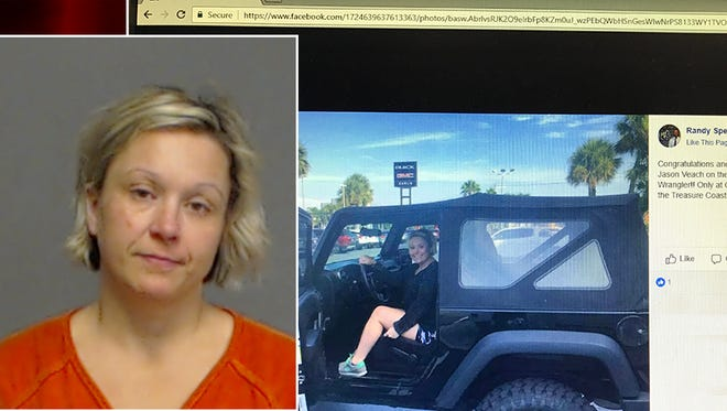 A screenshot shows a Facebook post congratulating Coty Lyn Veach on the purchase of a new vehicle, which lead to her arrest. Veach had an outstanding warrant for failure to appear related to a charge of bigamy.