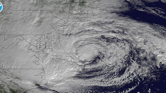 Superstorm Sandy on Oct. 29, 2012. Sea-level rise linked to climate change worsened Sandy's devastating storm surge (Image from NOAA)