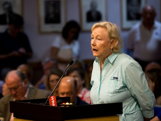 """Kit Kitchen-Maran, a visitor, and now full-time resident of Naples, since the 1960s, voices her opinion during a Naples Community Redevelopment Agency public meeting Tuesday, Aug. 15, 2017, at the Naples City Council Chamber to discuss the potential acquisition of land to be used for a parking garage downtown. """"Quantity does not mean quality,"""" Kitchen-Maran said near the end of her comments. """"What we've got here is a development greed that is starting to overwhelm the quality of life here in Naples."""""""