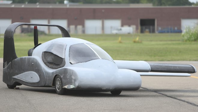 Detail of the front end of this prototype Flying Car designed by Sanjay Dhall Thursday, July 20, 2017 at Canton-Plymouth Mettetal Airport in Canton, MI.