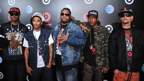 Bone Thugs-n-harmony arrive at Beats Music Launch Party at the Belasco Theatre, Jan. 24, 2014, in Los Angeles, Calif.