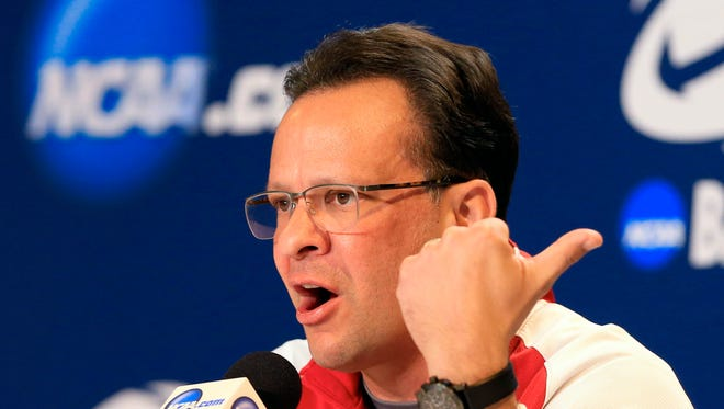 Indiana coach Tom Crean gestures during a news conference at the NCAA college basketball tournament in Omaha, Neb., Thursday, March 19, 2015. Indiana plays Wichita State in a second round game on Friday. (AP Photo/Nati Harnik)