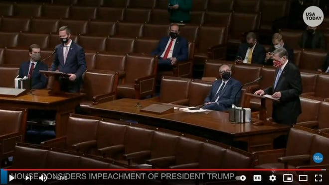 Screen image from the livestream proceedings at the U.S. House of Representatives.