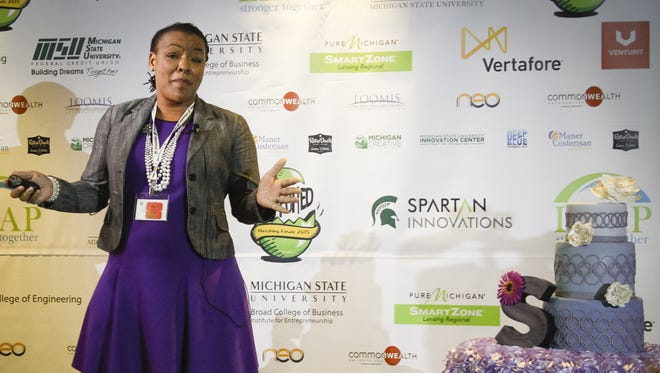 Nikki Thompson Frazier, of East Lansing, won the $10,000 grand prize during the Hatching finale Thursday night with her gluten-free bakery, Sweet Encounter.