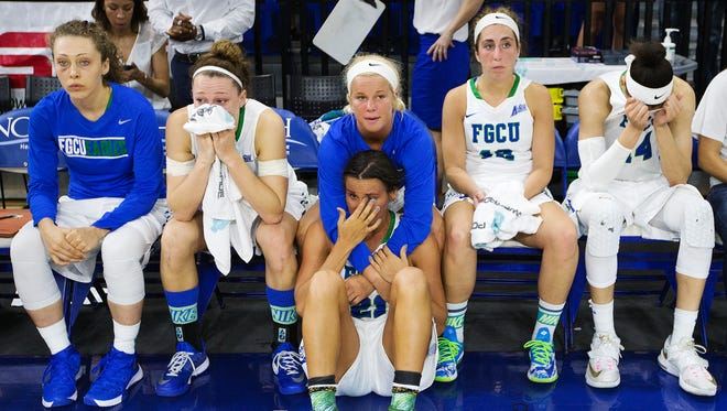 The FGCU women's basketball team lost to Jacksonville Sunday in the Atlantic Sun Conference championship at Alico Arena in Fort Myers. Jacksonville beat FGCU 56-54.