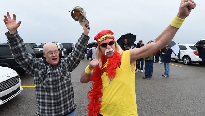 """Mike """"Hulk Hogan"""" Rotenberry and friend, Porter Stanton, get ready to take a plunge Saturday at Henderson Beach at Norfork Lake."""