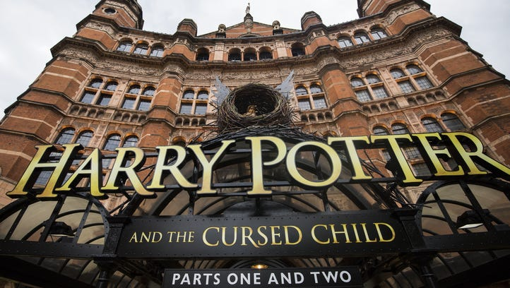 A view of  London's Palace Theatre after the first preview of 'Harry Potter and the Cursed Child' on June 8, 2016.