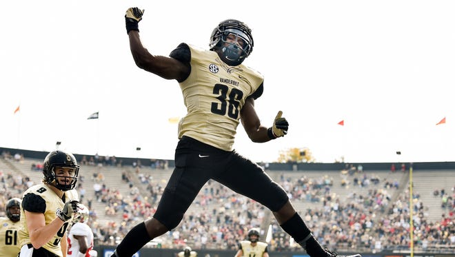 Vanderbilt wide receiver Trey Ellis (36) reacts to scoring a touchdown against Western Kentucky during the first half at Vanderbilt Stadium in Nashville, Tenn., Saturday, Nov. 4, 2017.