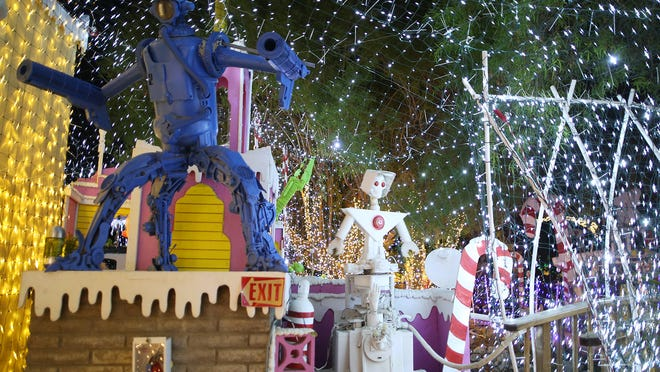 """The much celebrated and anticipated """"Robolights"""" display opened Thursday November 27, 2014 at creator/artist Kenny Irwin's Palm Springs home."""