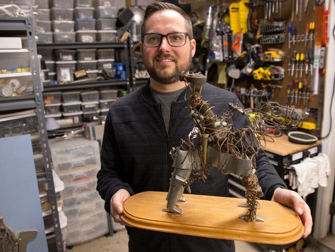 Gabriel Dishaw, a found-object artist who's currently
