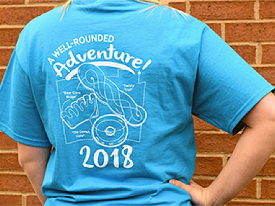 The new complimentary T-shirt for those finishing Butler County's Donut Trail was designed by Hamilton resident Alice Saurber.