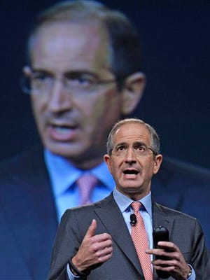 FILE - In this June 11, 2013, file photo, Comcast Corp. CEO Brian Roberts speaks during The Cable Show 2013 convention in Washington. Roberts was the ninth highest paid CEO in 2014, according to a study carried out by executive compensation data firm Equilar and The Associated Press. (AP Photo/Susan Walsh, File)