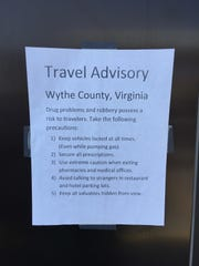 A sign posted at a gas station in east Tennessee off