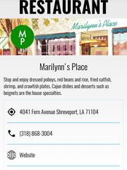 Each listing provides a description of culinary offerings, address, phone number, and website.