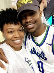 Brandon Goodwin's mom, Swan, was finally able to watch her son play an FGCU game in person on Sunday, when he was named the ASUN tournament MVP after the conference tournament championship home win against UNF.