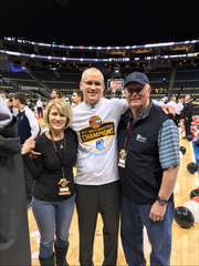 Dan Hurley celebrating with his mother, Chris, and