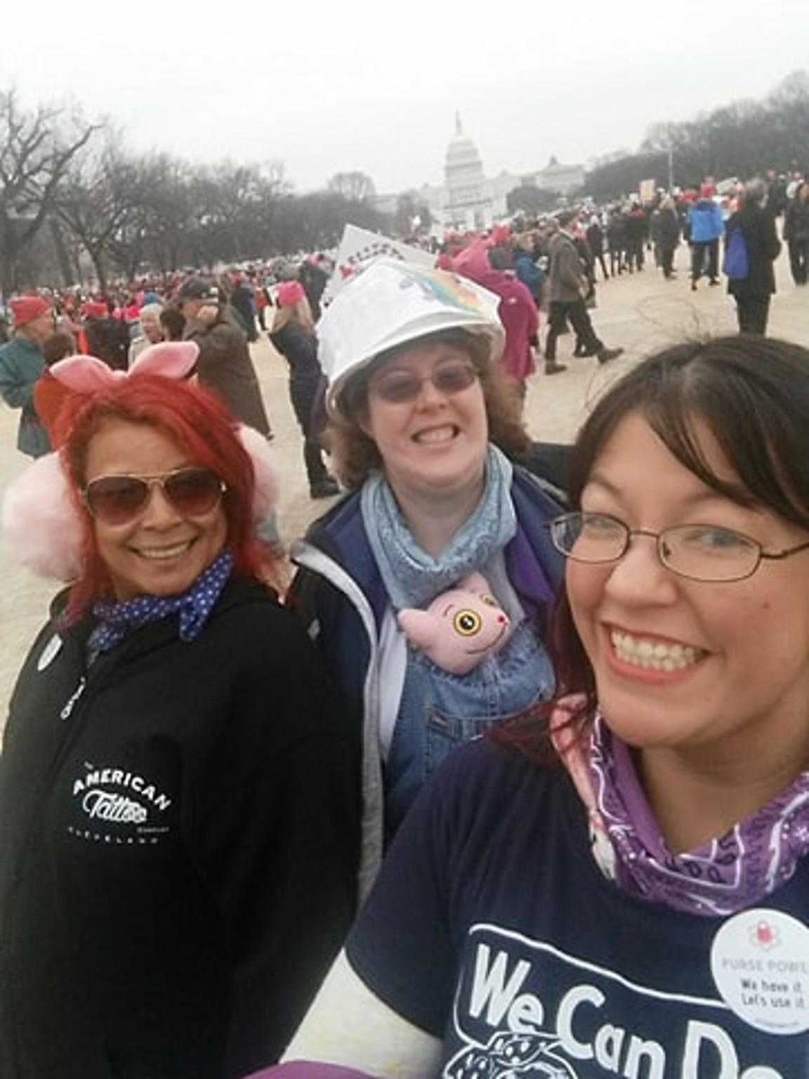 Haidi Hong (far right) attends the Women's March in