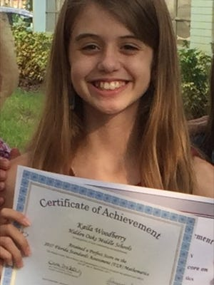 Kaila Woodberry achieved a perfect score on the 8th grade Math FSA test last year.
