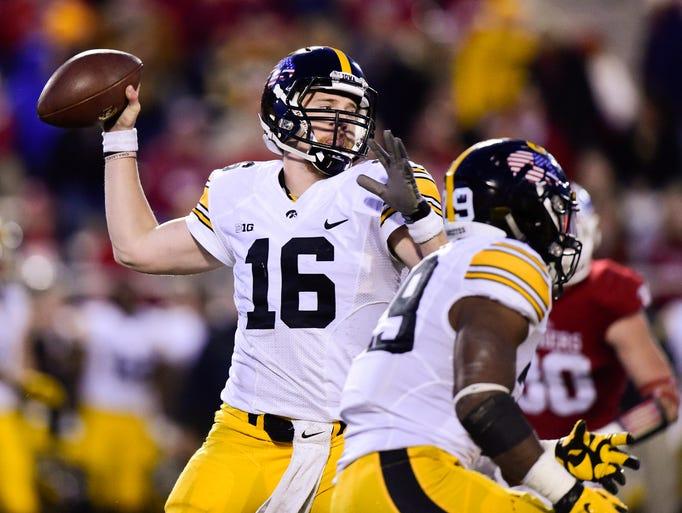 Nov 7, 2015; Bloomington, IN, USA; Iowa Hawkeyes quarterback