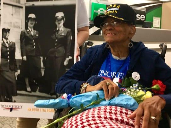 Ruth Etta Borders, 85, returns from Honor Flight.